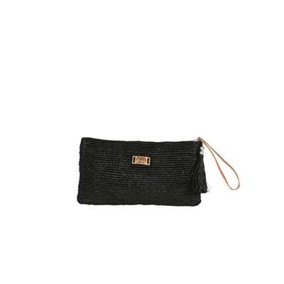 Crochet clutch with leather strap -LONGISOA