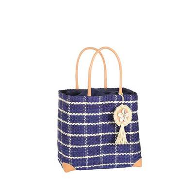 Checkered sisal basket with seashell tassel - YAKUBA