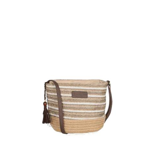 Trendy cross body bag with stripes and pompom - SIMBA