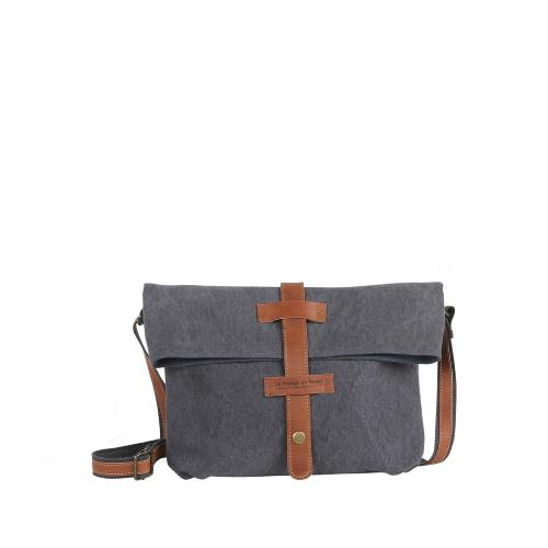 Unisex cross body bag with leather details - SAM