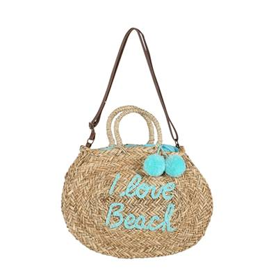 Panier rond Story I love beach - Turquoise