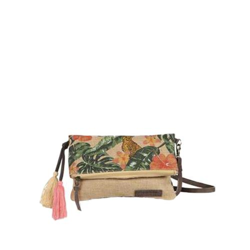 Jute cross-body bag with trendy print - JUNGLE