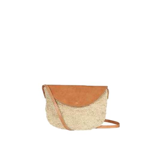 Cross body bag with leather flaps - RABASOA