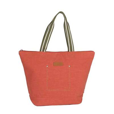Colorful cotton tote with contrasting handle - RACHEL