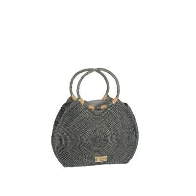 Hand carried bag in contrasted crochet with round handle - PHARAONA