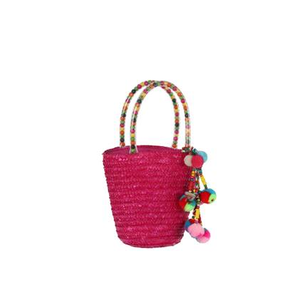 Colorful basket with tassel and wooden beads - CLOCHETTE