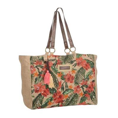 Jute shoulder bag with trendy print - JUNGLE TRIP