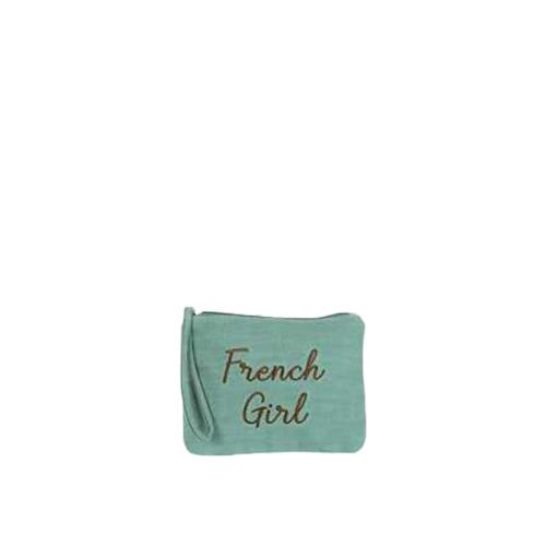 Colorful clutch with contrasted embroidered message - JOEY