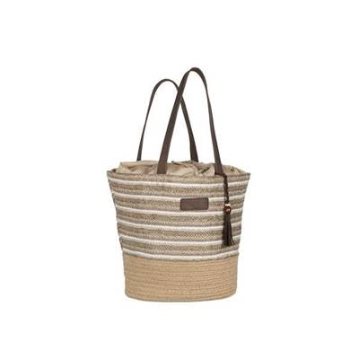 Trendy iridescent striped shoulder bag with tassel - MUFASA