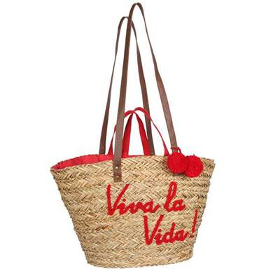 Embroidered message double handle basket - MESSAGE